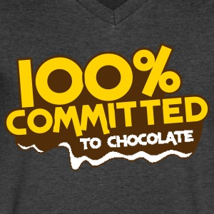 100 percent committed to chocolate T-Shirts - Men's V-Neck T-Shirt by Canvas