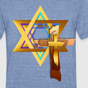 Star Of David and Triple Cross - Unisex Tri-Blend T-Shirt by American Apparel