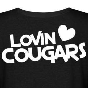 lovin cougars with love heart Women's T-Shirts - Women's V-Neck T-Shirt