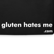 Design ~ Gluten Hates Me Grocery Tote - Black with White Text