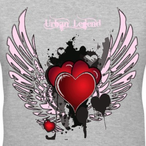 Urban Legend Red Heart with Pink Wings and Pink Text   Women's T-Shirts - Women's V-Neck T-Shirt