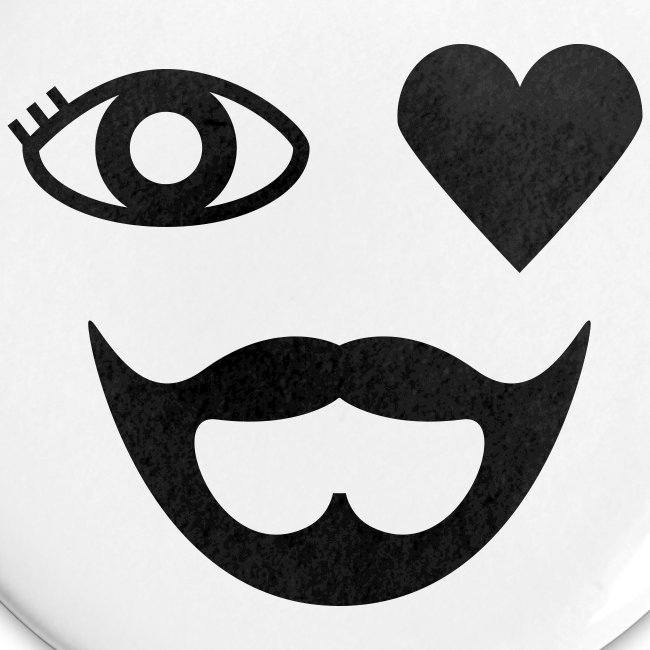 Black Eye Heart Beard Button