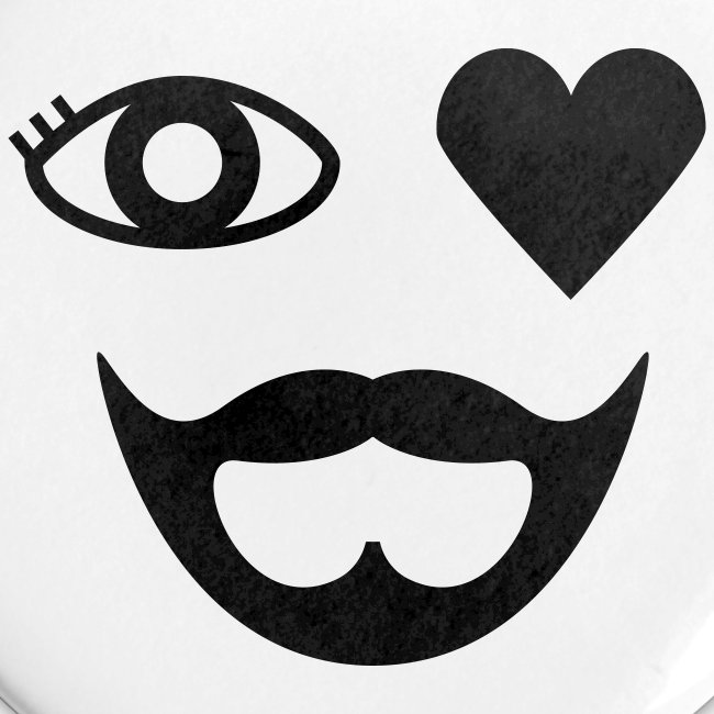 Black Eye Heart Beard Button