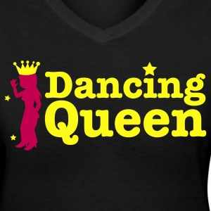 Dancing Queen with dancing girl and crown Women's T-Shirts - Women's V-Neck T-Shirt