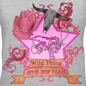 CowGirl Wild Thing never been tamed Pink 4 Leather Women's T-Shirts - Women's V-Neck T-Shirt