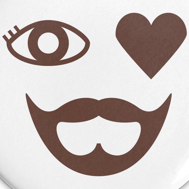Brown Eye Heart Beard Button