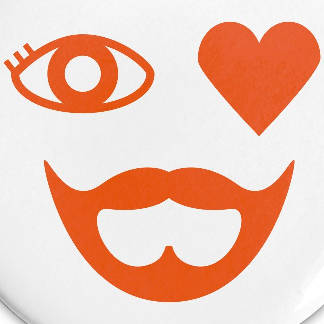Orange Eye Heart Beard Button