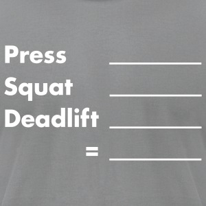 unrx_press_squat_out01 T-Shirts - Men's T-Shirt by American Apparel