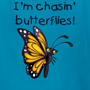 Kid's Yellow Butterfy Tee with glitter text - Kids' T-Shirt