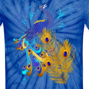 Three Feathers and a Peacock - Unisex Tie Dye T-Shirt