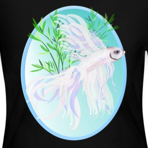 White Siamese Fighting Fish Oval - Women's Long Sleeve Jersey T-Shirt