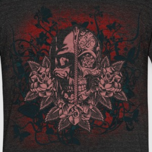 zipper headed sugar skull mens triblend charcoal tee - Unisex Tri-Blend T-Shirt by American Apparel