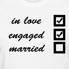 in love, engaged, married Women's T-Shirts
