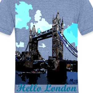 Hello London tower bridge  - Unisex Tri-Blend T-Shirt by American Apparel