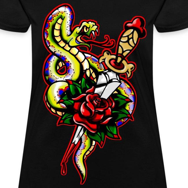 Women's Snake dagger Rose Tattoo