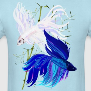 Blue n White Siamese Fighting Fish - Men's T-Shirt