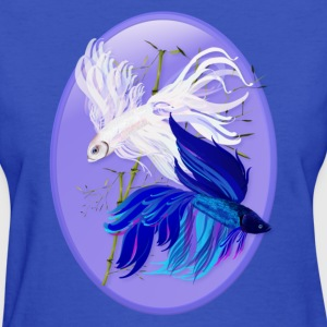 Blue n  White Siamese Fighting Fish Oval - Women's T-Shirt