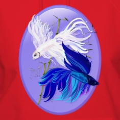 "Blue ""n""  White Siamese Fighting Fish Oval"