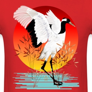 Red-Crowned Crane and Setting Sun - Men's T-Shirt