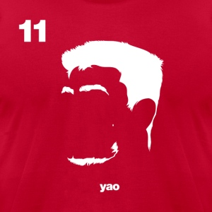 Yao Ming Portrait with Red94 logo - Men's T-Shirt by American Apparel