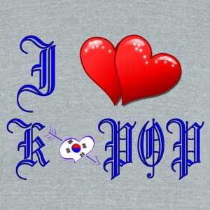 I LOVE K-POP RED HEARTS& S.KOREA FLAG Men's Tri-Blend Vintage T-Shirt by American Apparel - Unisex Tri-Blend T-Shirt by American Apparel