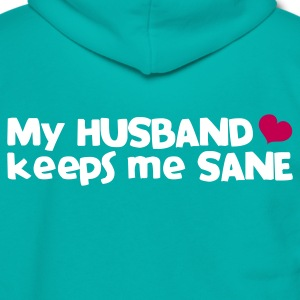 my husband keeps me sane - with love heart Zip Hoodies/Jackets - Unisex Fleece Zip Hoodie by American Apparel
