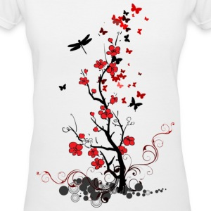 Red and Black Flowers - Women's V-Neck T-Shirt