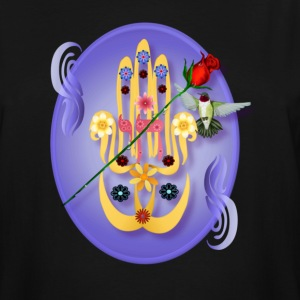 Hamsa and Flowers Oval - Men's Tall T-Shirt