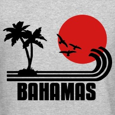 Bahamas, palm trees, sun beach retro design, wanderlust Long Sleeve Shirts