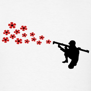 The anti-war motif bazooka soldier shoots with flowers. T-Shirts - Men's T-Shirt