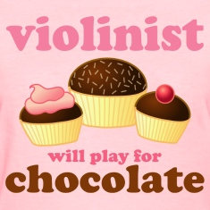 Violin Music Chocolate Humor Pink Womens T-shirt