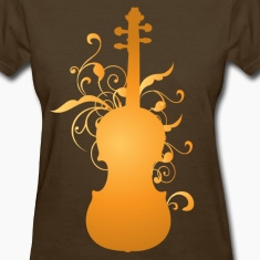 Violin Music Orchestra Instrument Womens Brown T-shirt