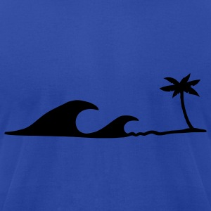 Waves on the Beach, waves on the beach under palm trees  T-Shirts - Men's T-Shirt by American Apparel