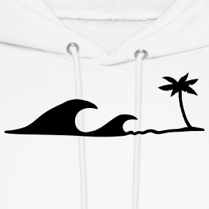Waves on the Beach, waves on the beach under palm trees  Hoodies - Men's Hoodie