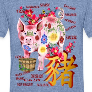 Year Of The Pig In Flowers - Unisex Tri-Blend T-Shirt by American Apparel