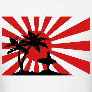 Surfing the setting sun under the palm trees against the sun.  T-Shirts - Men's T-Shirt