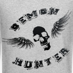 Demon Hunter Winged Skull Black Long Sleeve Shirts