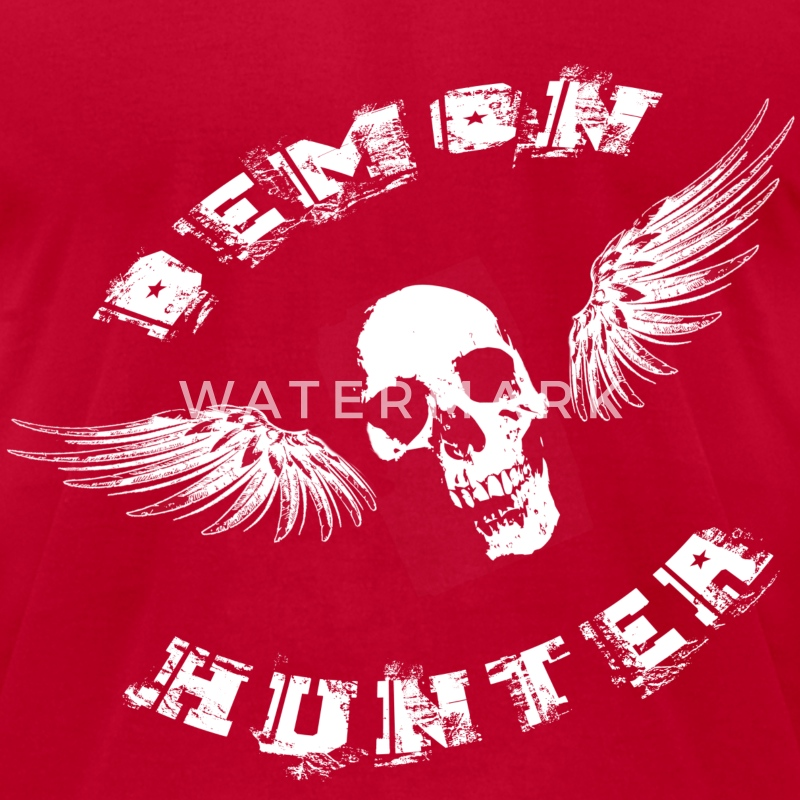 Demon Hunter Winged Skull White T-Shirts - Men's T-Shirt by American Apparel