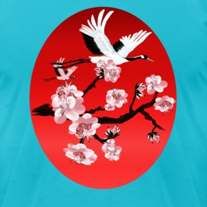 Flying Crane and Sun - Men's T-Shirt by American Apparel