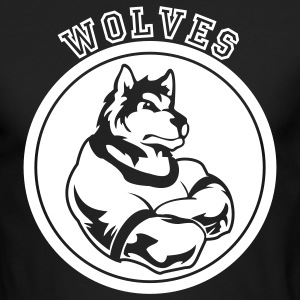 Wolves or Wolf Custom Sports Mascot Graphic Long Sleeve Shirts - Men's Long Sleeve T-Shirt by Next Level