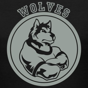 Wolves or Wolf Custom Sports Mascot Graphic Women's T-Shirts - Women's V-Neck T-Shirt