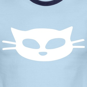 unique white cat mask vector graphic art Men's Ringer T-Shirt by American Apparel - Men's Ringer T-Shirt