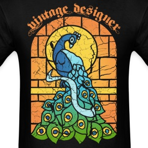 Vintage Peacock Stained Glass Window T-Shirts - Men's T-Shirt