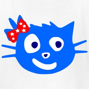 colorful cute blue cat animale vector - Kids' T-Shirt