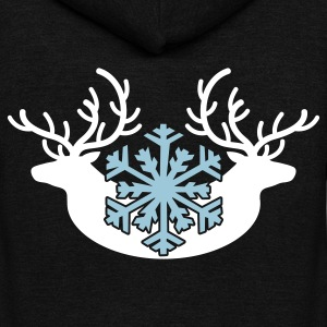 winter stags and a snowflake Zip Hoodies/Jackets - Unisex Fleece Zip Hoodie by American Apparel