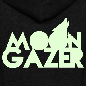 MOON GAZER wolf design Zip Hoodies/Jackets - Unisex Fleece Zip Hoodie by American Apparel