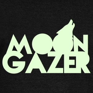 MOON GAZER wolf design Long Sleeve Shirts - Women's Wideneck Sweatshirt