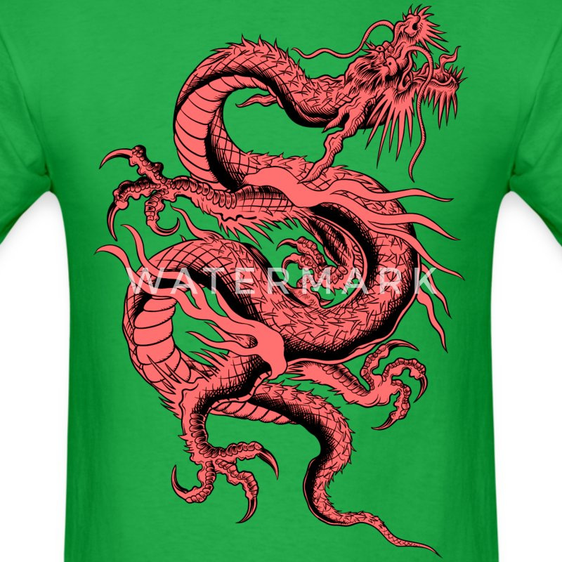 Red Chinese Dragon ( HD Pixel Design ) - Men's T-Shirt