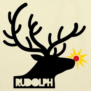 rudolph with light on is nose REINDEER Bags  - Eco-Friendly Cotton Tote