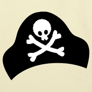 crossbones and skull on pirate hat good for Halloween Bags  - Eco-Friendly Cotton Tote